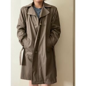 London Fog Hooded Water Repellant Trench Coat
